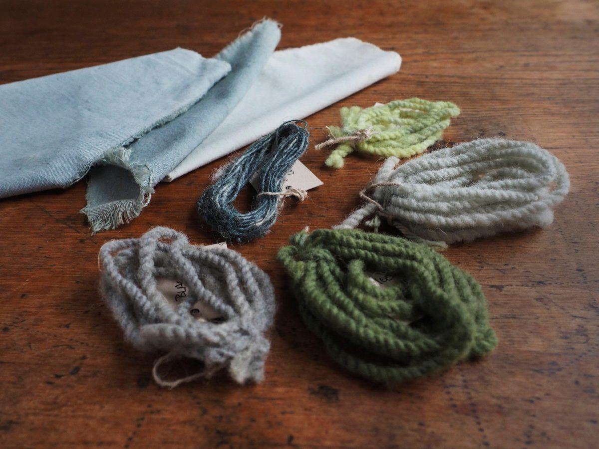 Black Hollyhock natural dye colour swatches