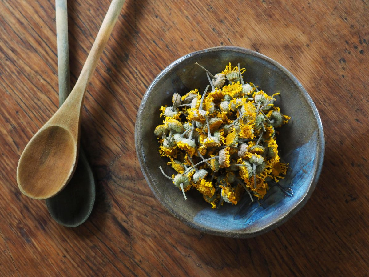 Dyer's Chamomile natural plant dye in a bowl