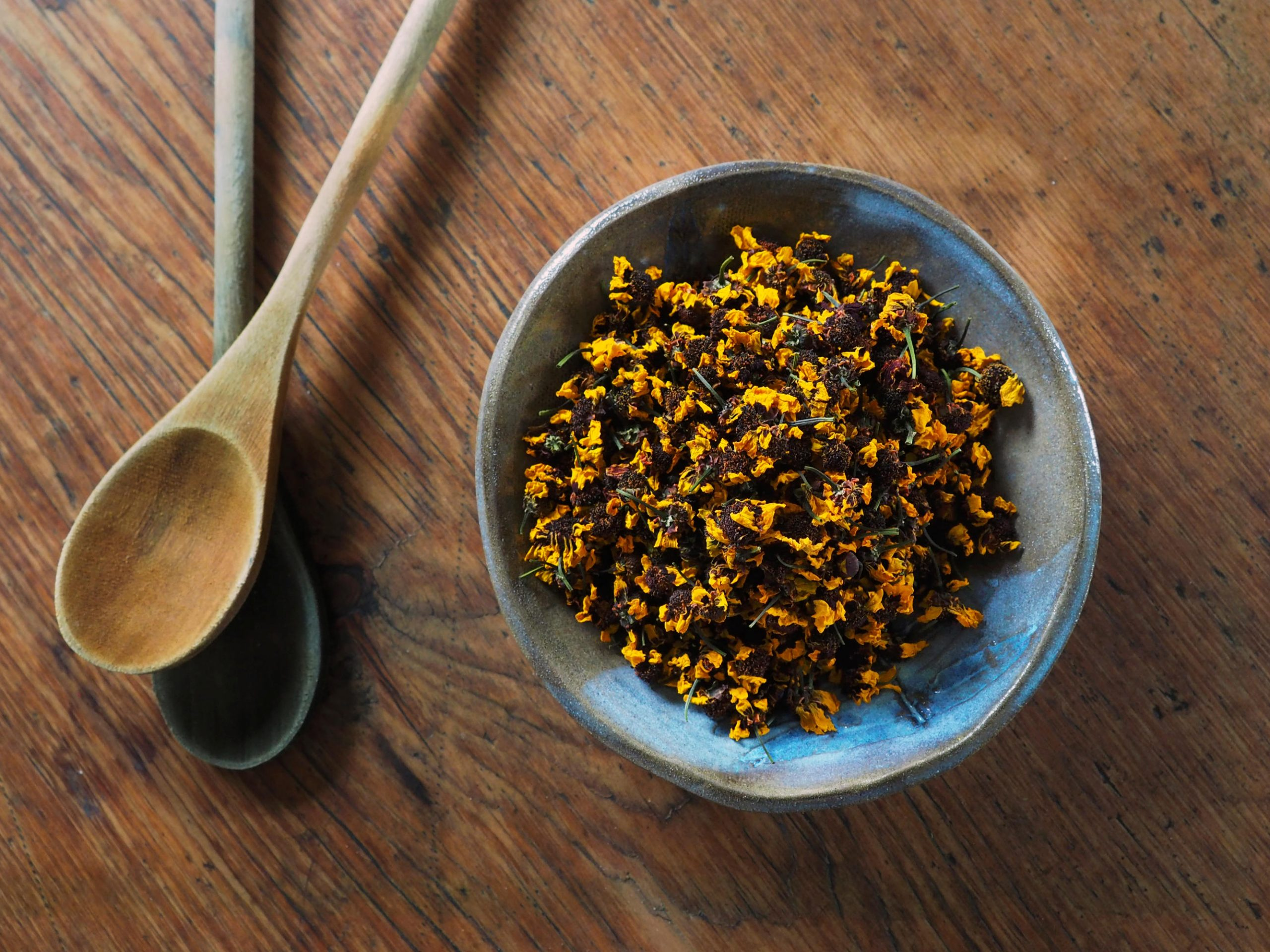 Dyer's Coreopsis natural plant dye in a bowl