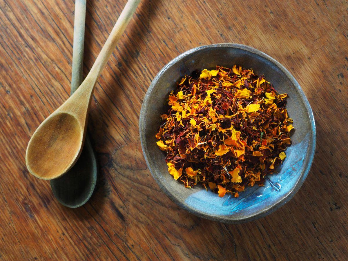A bowl of marigold petals