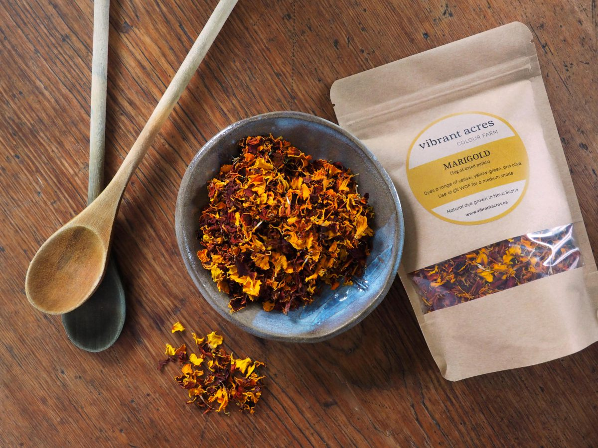 Marigold natural plant dye material and packaged dye