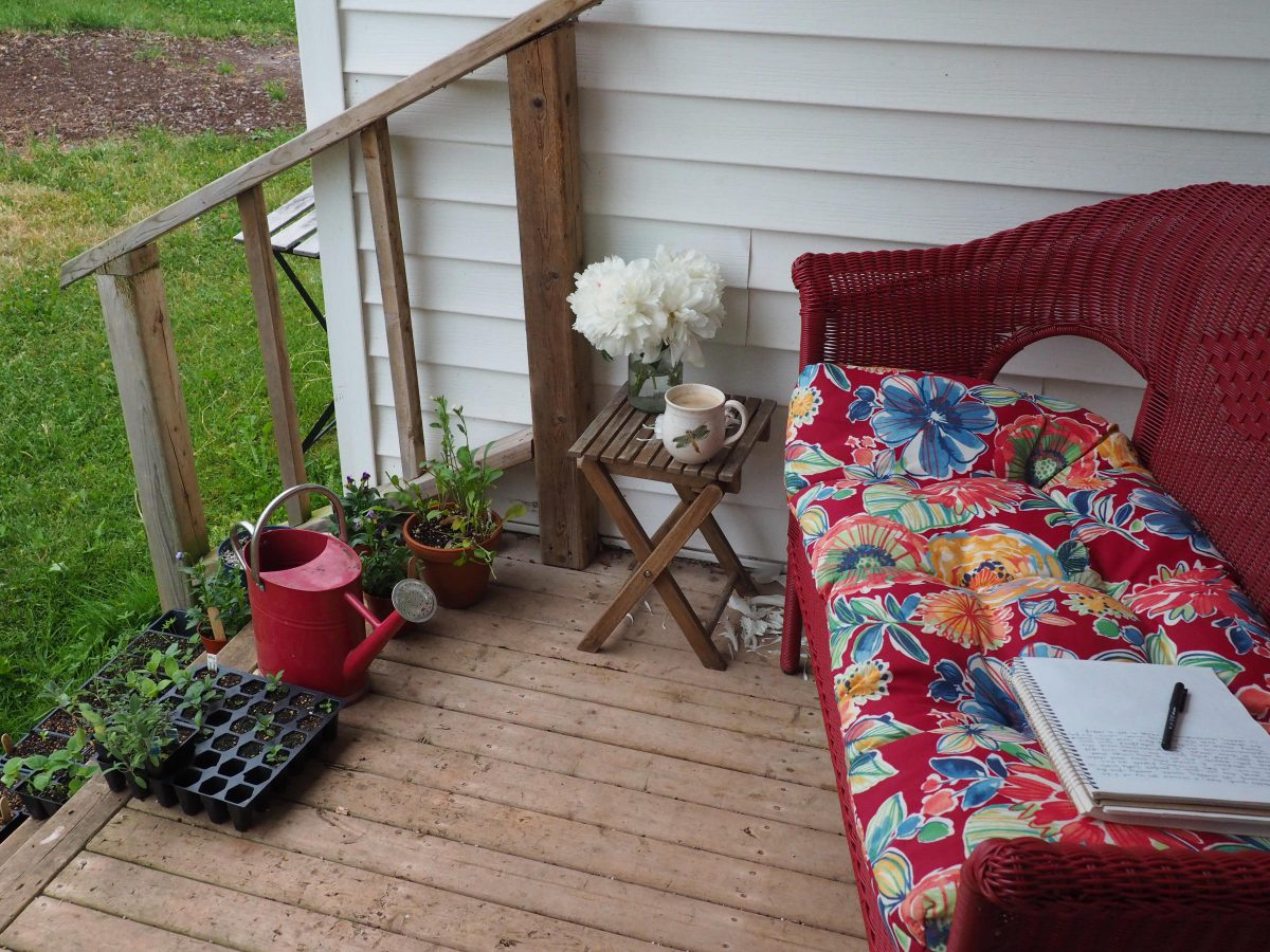 Red patio sofa with notebook, peonies, morning coffee, watering can and seedlings ready to be planted out