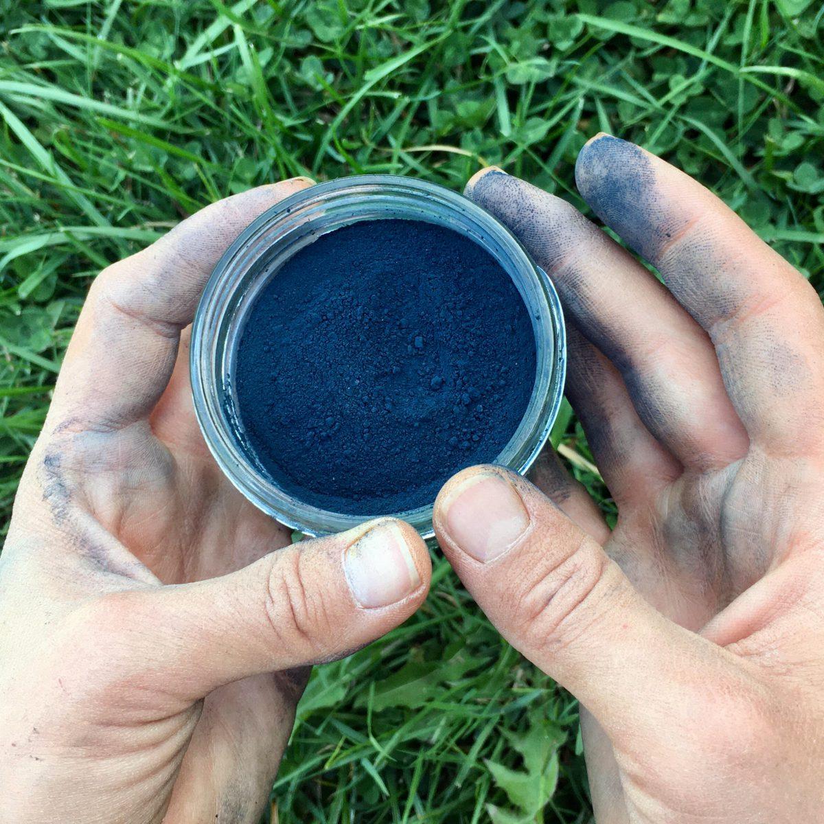 Hands holding indigo powder in a jar
