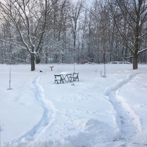 Paths through the snow into the garden, bistro table and chairs under snow